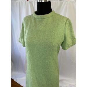 Pastel green dress - vintage 1960s shift dress- L